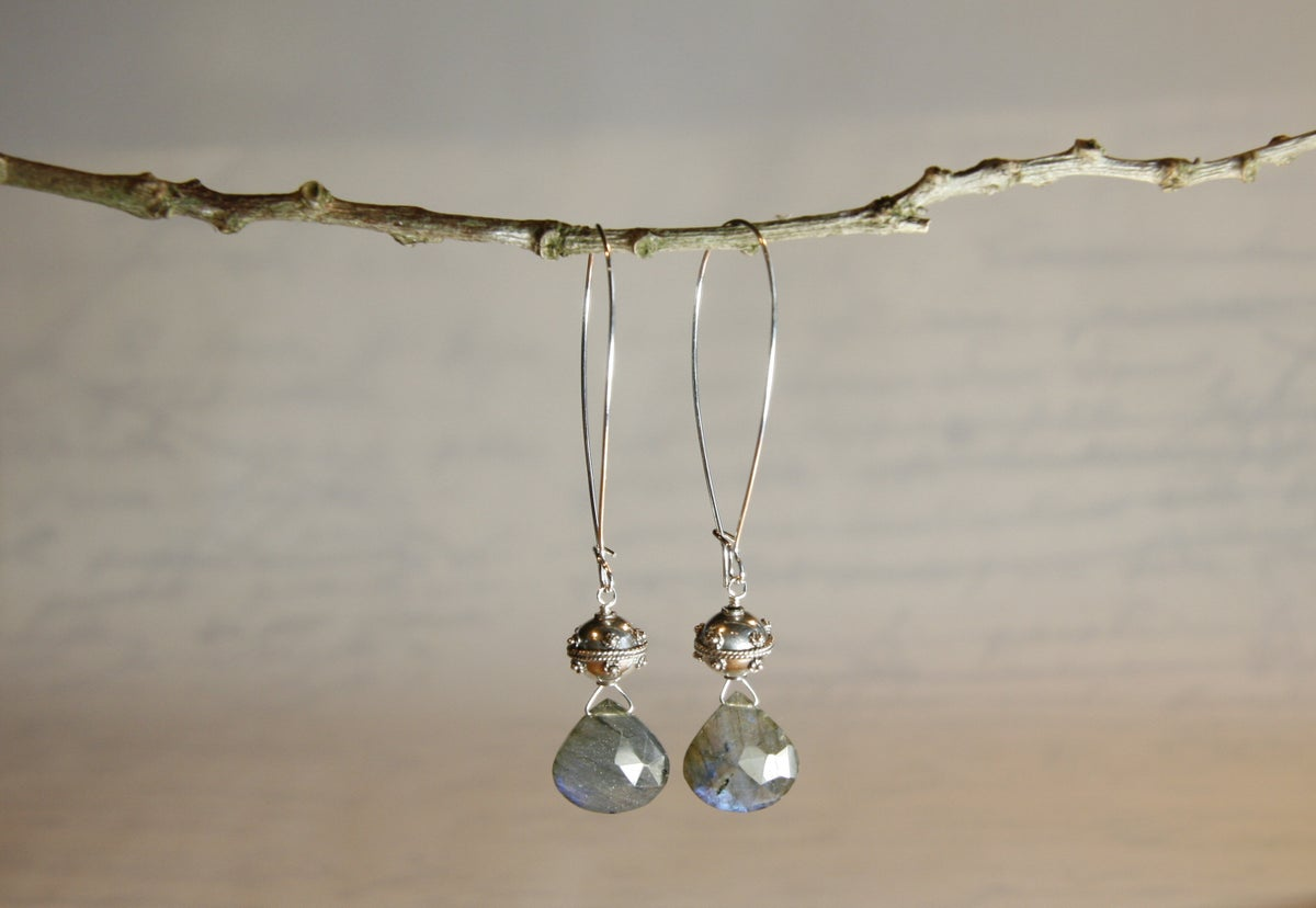Labradorite Heart Earrings