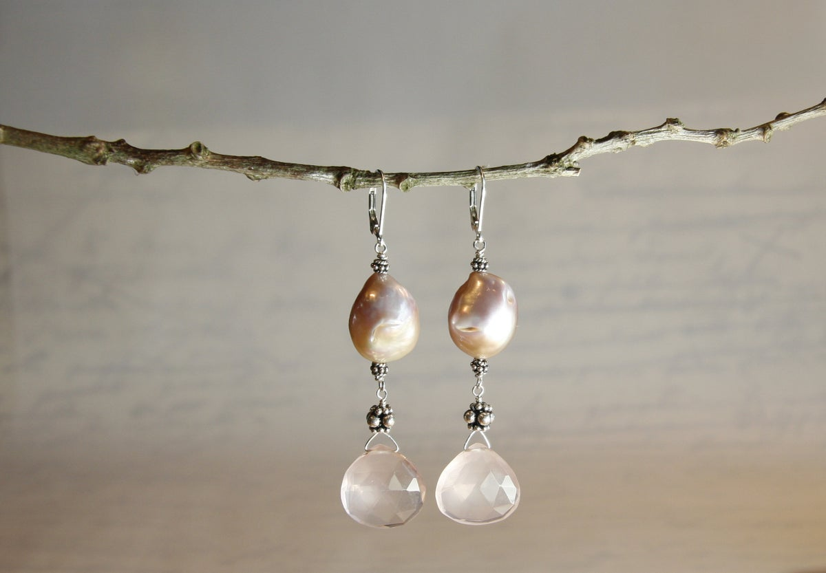 Meringue Pearl Earrings with Rose Quartz