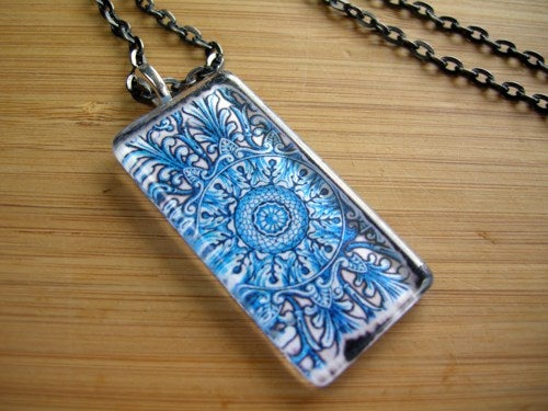 Image of Blue Pattern Glass Pendant