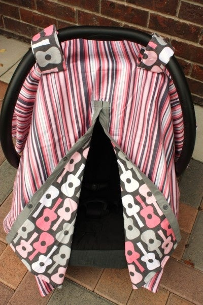 Image of Car Seat Canopy - Bloom Groovy Guitars & Play Stripe