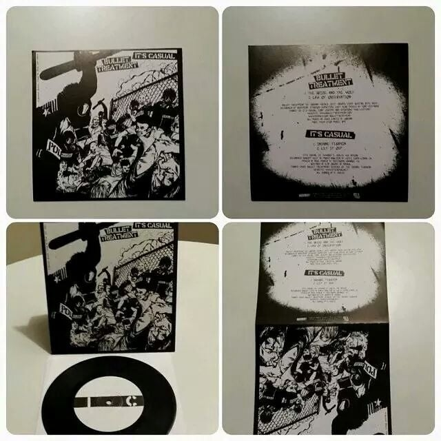 "Image of It's casual + bullet treatment split 7 "" vinyl"