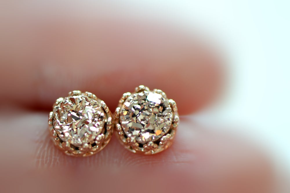 Image of Rose Gold Druzy Studs in Rose Gold Bezel , 6mm Druzy Crown Bezel Studs , Glitter Earring