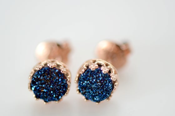 Image of Royal Blue Druzy Studs in Rose Gold , 6mm Druzy Crown Bezel Studs
