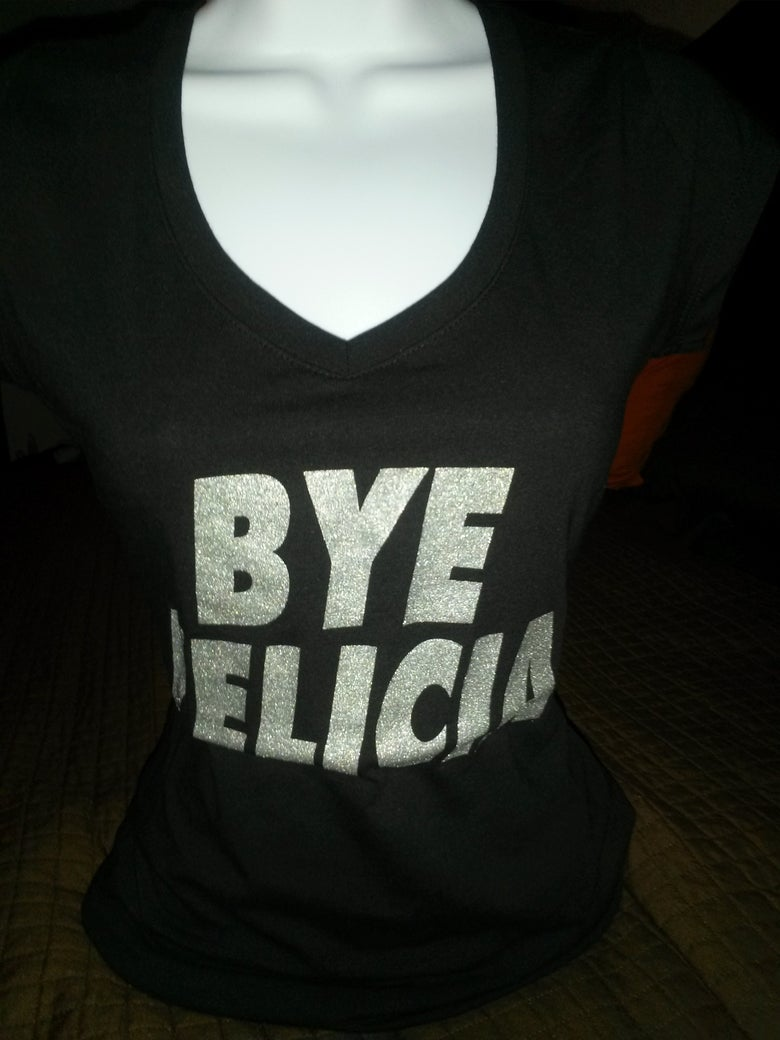 Image of BYE FELICIA Tee Shortsleeve Black with silver shimmer glitter
