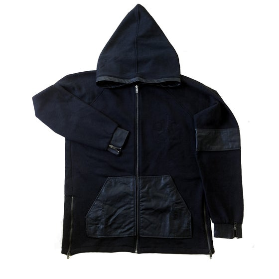 Image of Elongated Leather Trim Hoodie.