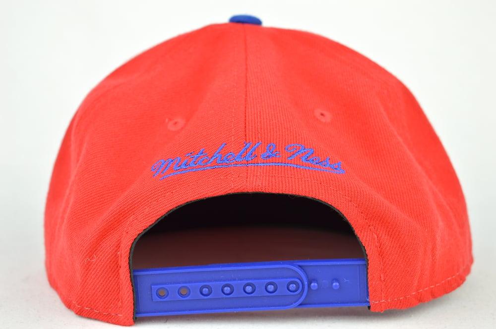 Image of DETROIT PISTON RED & BLUE MITCHELL & NESS SHARKTOOTH SNAPBACK