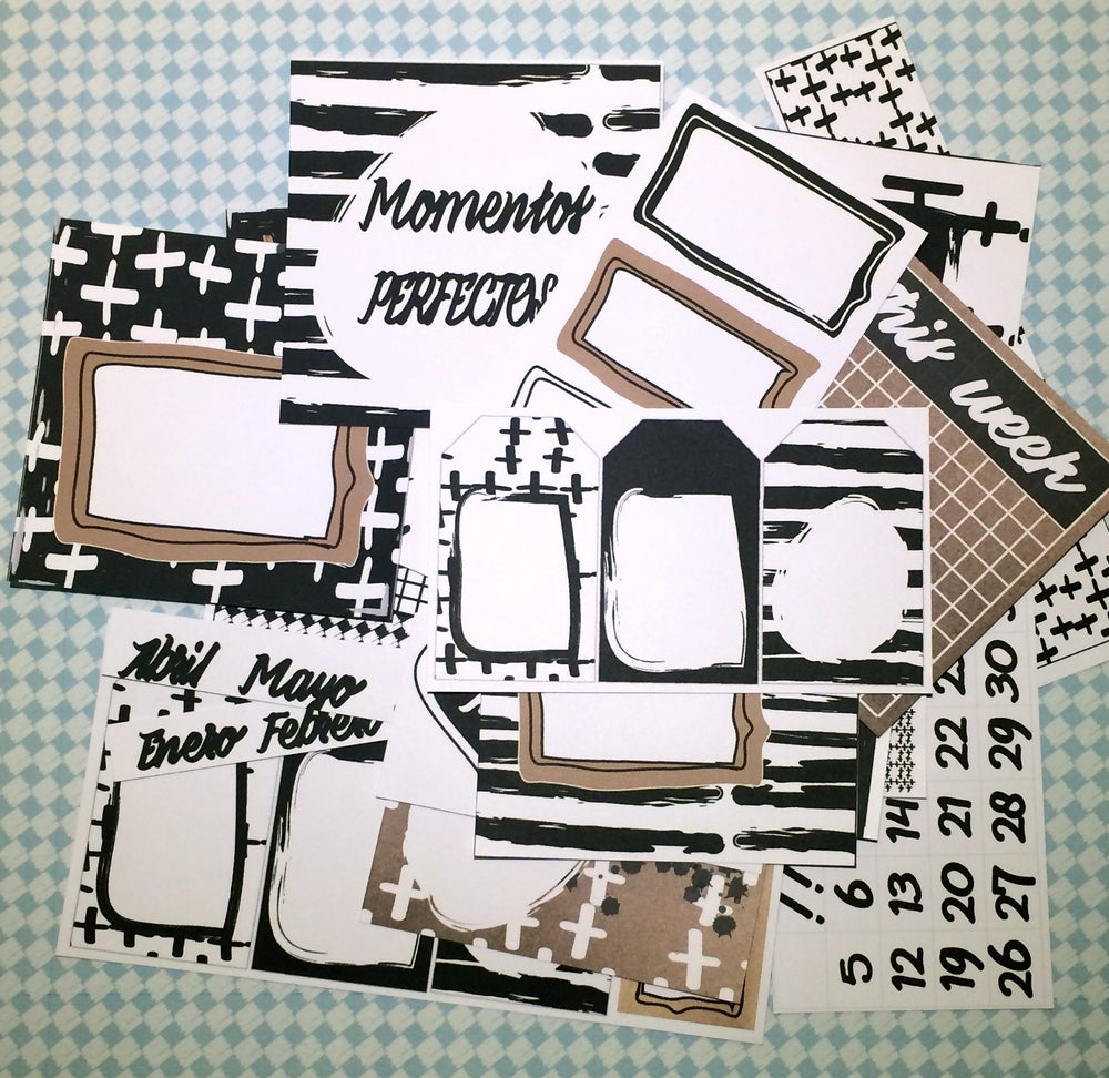 Image of KIT de SCRAPBOOKING 002 - BASIC B/N - KRAFT