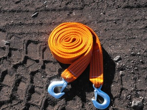 Image of 15 foot Tow Strap with metal hooks. 10,000 pound capacity