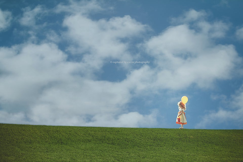 Image of Grassy Hill Digital Backgrounds & Puffy Clouds Overlays