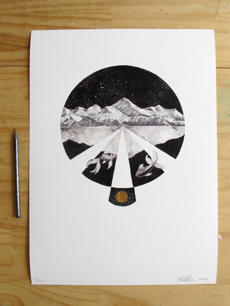 Image of 'The Moon Shines No Light of Its Own.' Limited edition fine art print. Edition of 20