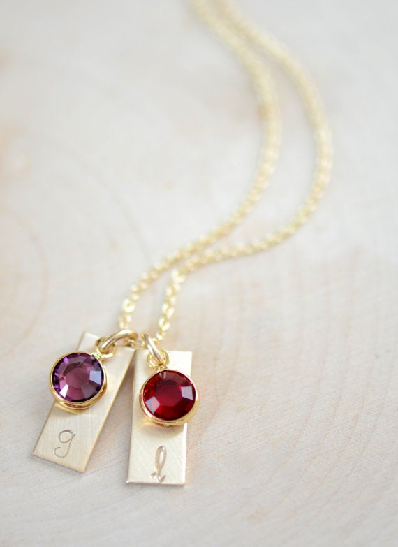 Image of Dainty Gold Filled Initial Bar Necklace with Birthstone - Mother's Necklace