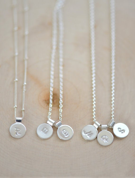 Image of Tiny Sterling Silver Initial Necklace, Personalize Initial Necklace