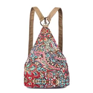 Image of Walking Flower Vintage Phoenix Flower Printed Canvas Backpack Travel Bag