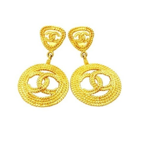 Image of SOL OUT Chanel Vintage Huge CC Logo Dangle Hoop Earrings