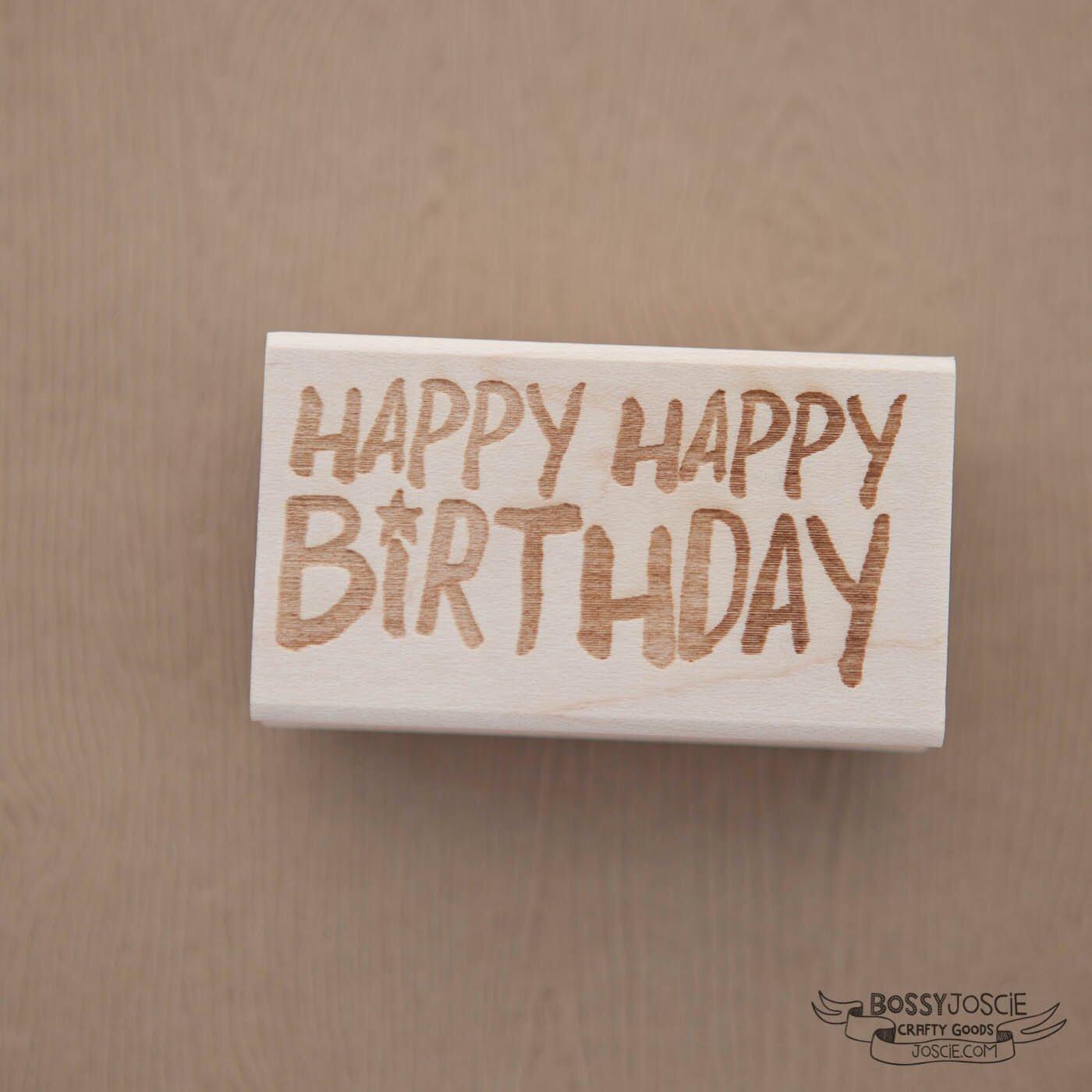 Image of Happy Happy Birthday Brush stamp