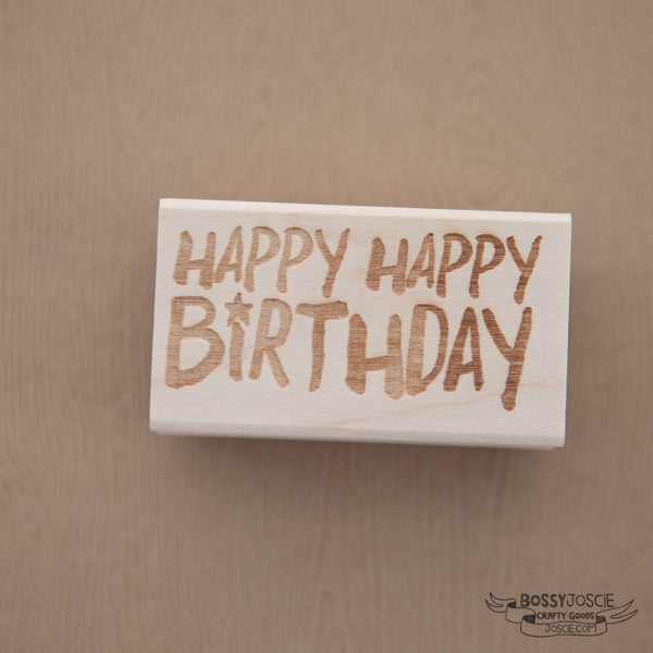 Image of Happy Happy Birthday Brush stamp