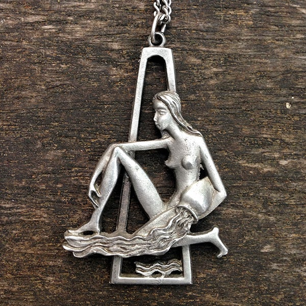 Image of Vintage Pewter Aquarius Pendant