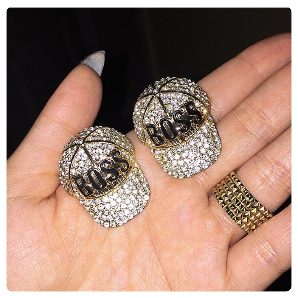 Image of Im Bossy SnapBack Crystal Earrings