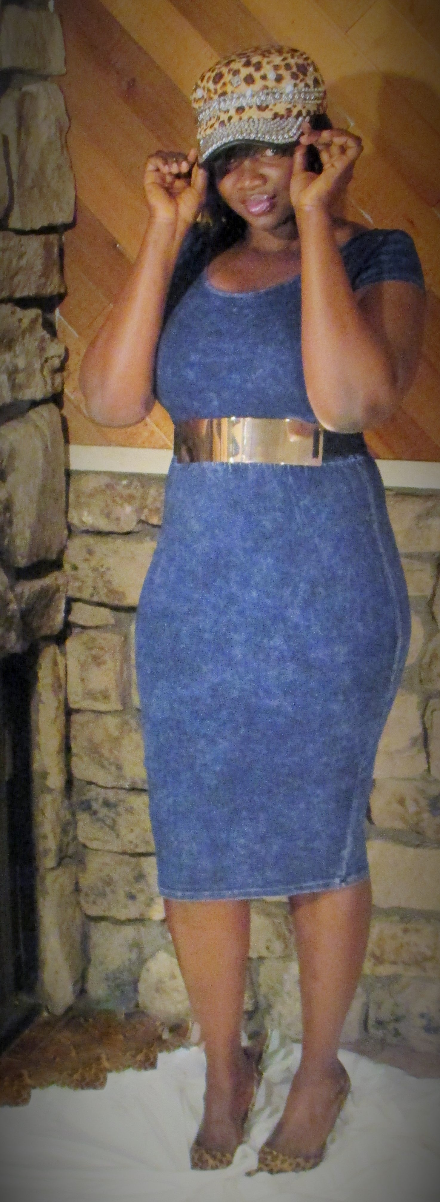 Image of Navy Pencil Skirt