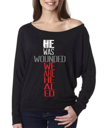 Image of He Was Wounded We Are Healed - Black Long Sleeve