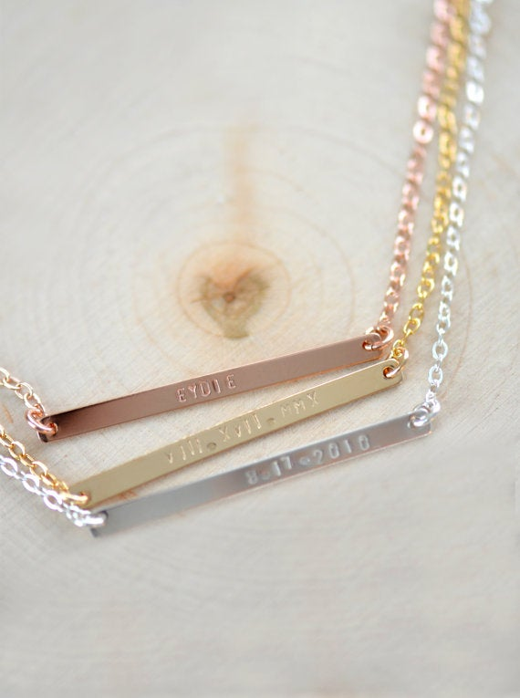 Image of Skinny Bar Necklace , Skinny Long Nameplate Bar Necklace