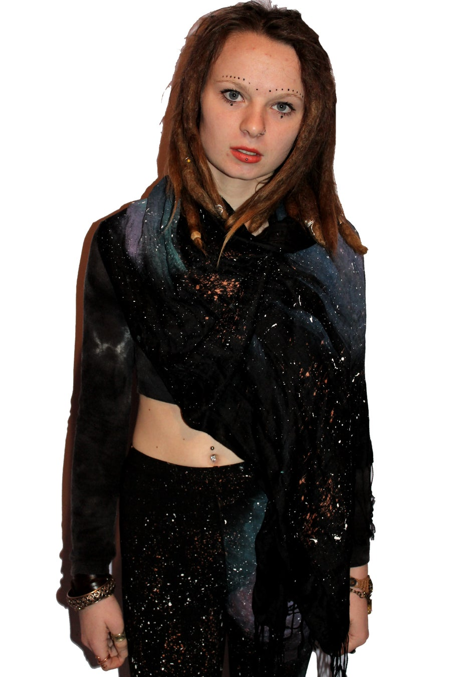 Image of Hand painted `Universe Pashmina scarf~