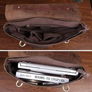 """Image of Vintage Handmade Crazy Horse Leather Briefcase Messenger 13"""" 14"""" Laptop / 13"""" 15"""" MacBook Bag (n369)"""