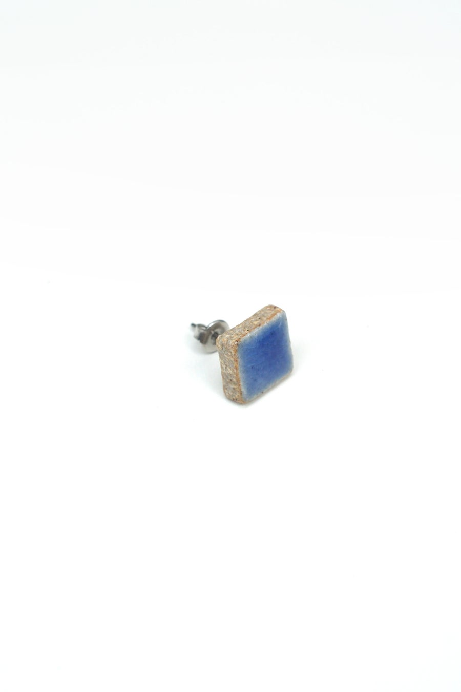 Image of blue square earring