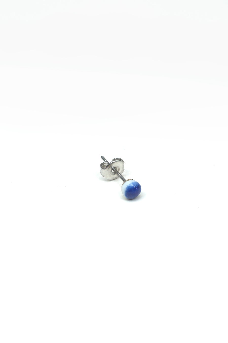 Image of blue dot earring