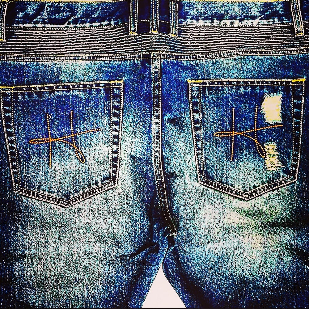 Image of Hotbread Bleu wash biker denim