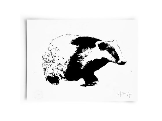Image of Badger on paper - Screenprint