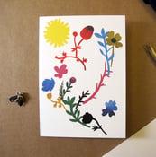 Image of Kort, pappersklipp blommor