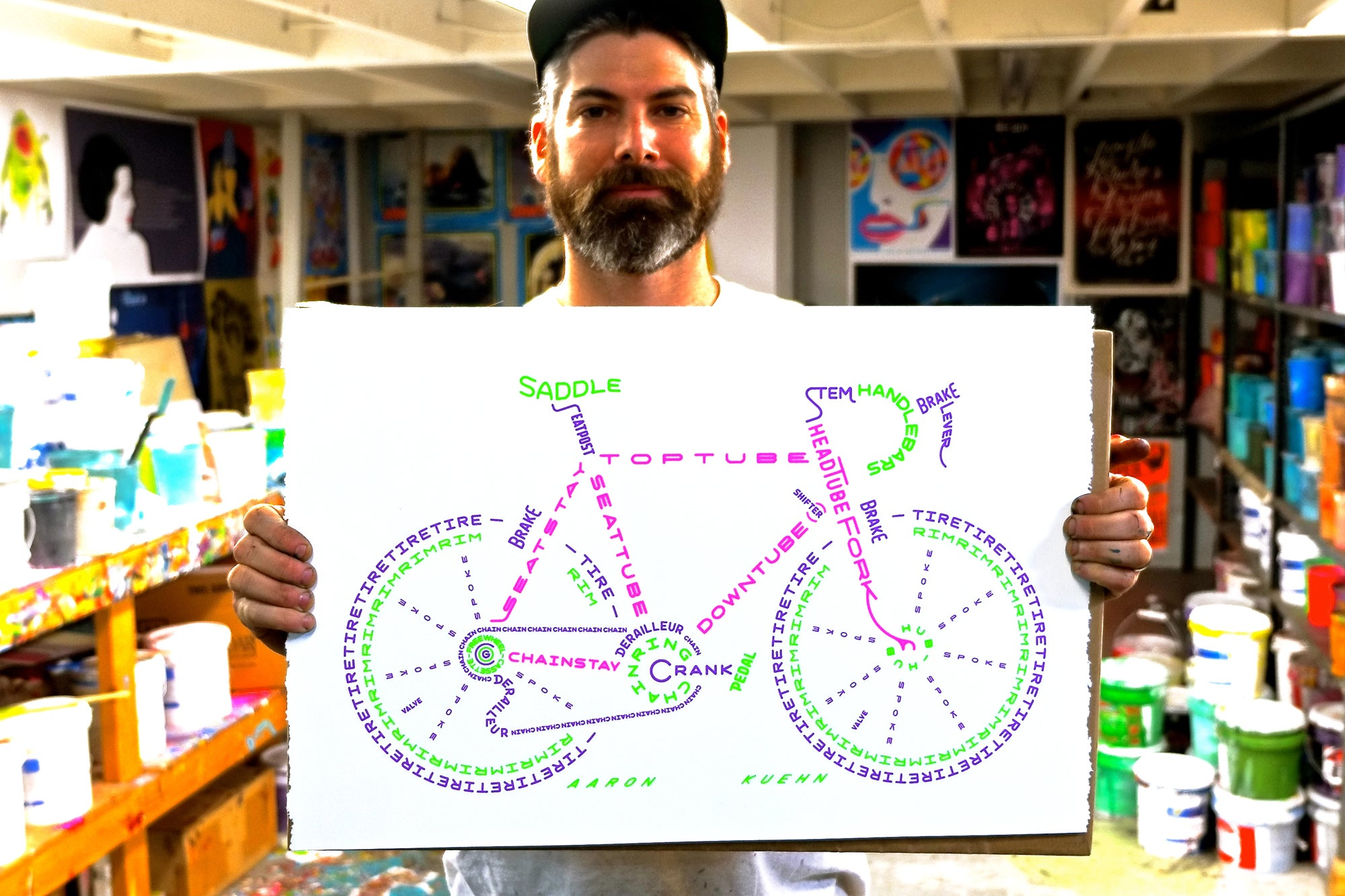 Image of Bicycle Typogram - 3 Color Print