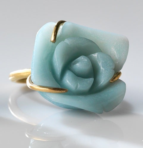Image of bloem verlovingsring in geelgoud en amazoniet - Coctailring in gold and amazonite
