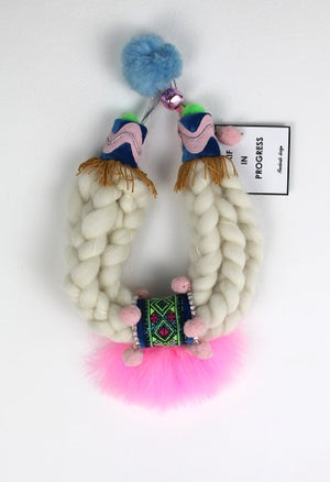Image of WOOL + PINK FEATHERS COLLAR