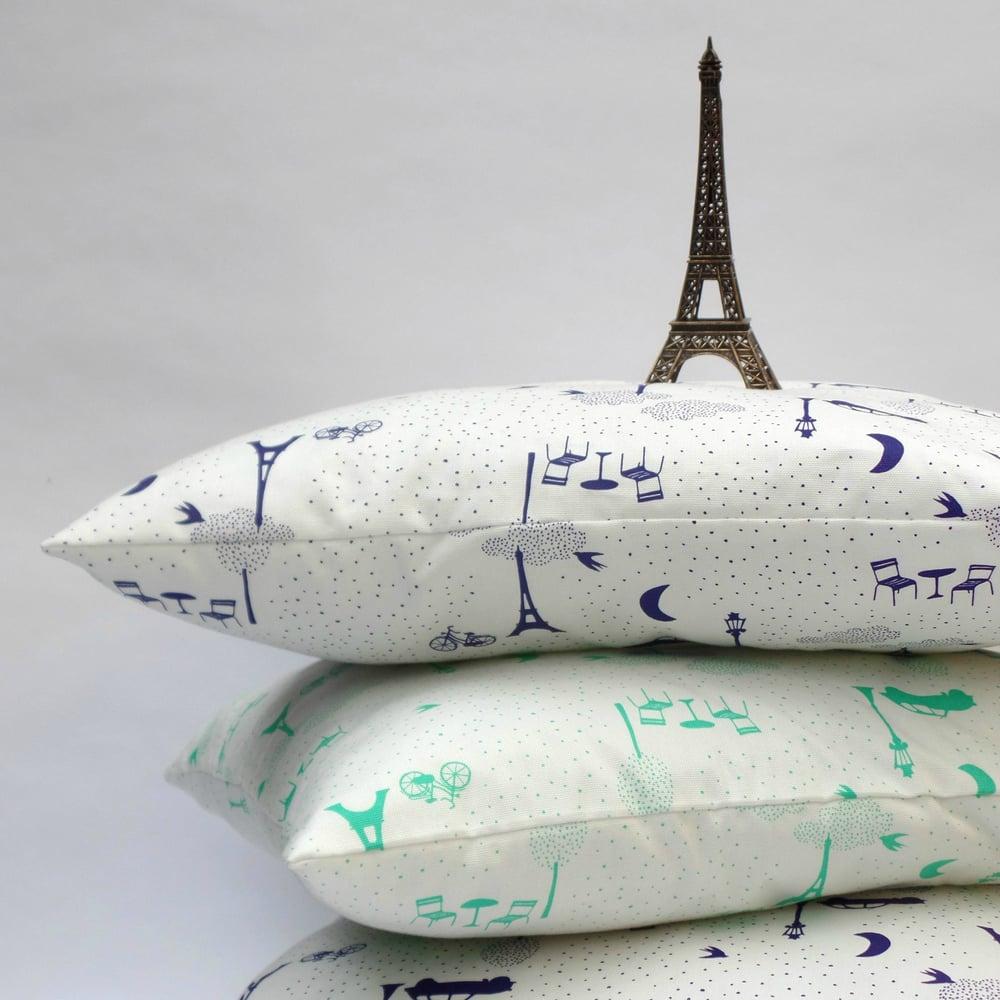 Image of Souvenirs de Paris cushion Blue