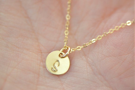Image of Itty Bitty Gold Initial Necklace - Tiny 6mm Initial Disc Charms