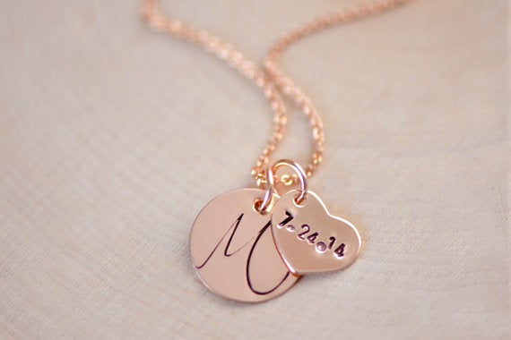 Image of Personalized Rose Gold Initial Necklace , Date Necklace