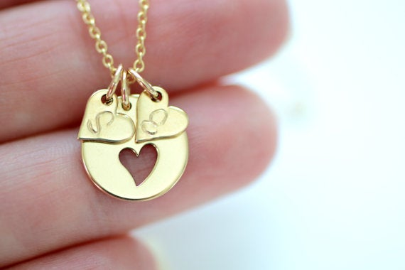 Image of Mother's Necklace - Dainty Gold Initial Charm - Gold Heart Charm