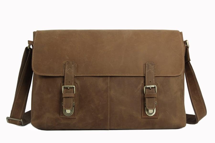 Image of Vintage Leather Messenger Bag, Crossbody Bag, Shoulder Bag, Laptop Bag 6002LR