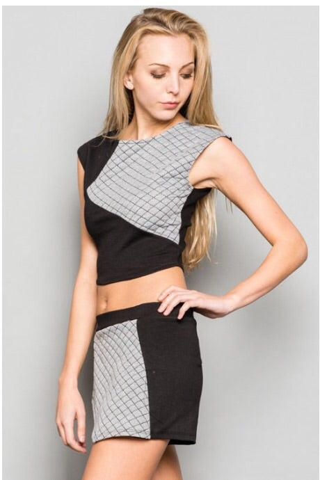Image of Quilted Crop Top and Shorts