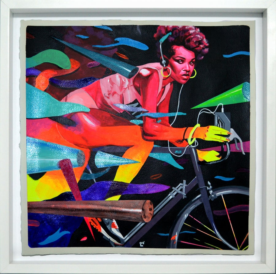Image of Neon City Show Framed Original |  Miami Chica