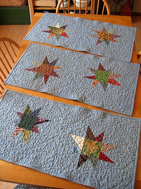 "Image of table runner - 33"" x 15"" -  kaleidoscope design reverses to chambray with star design"