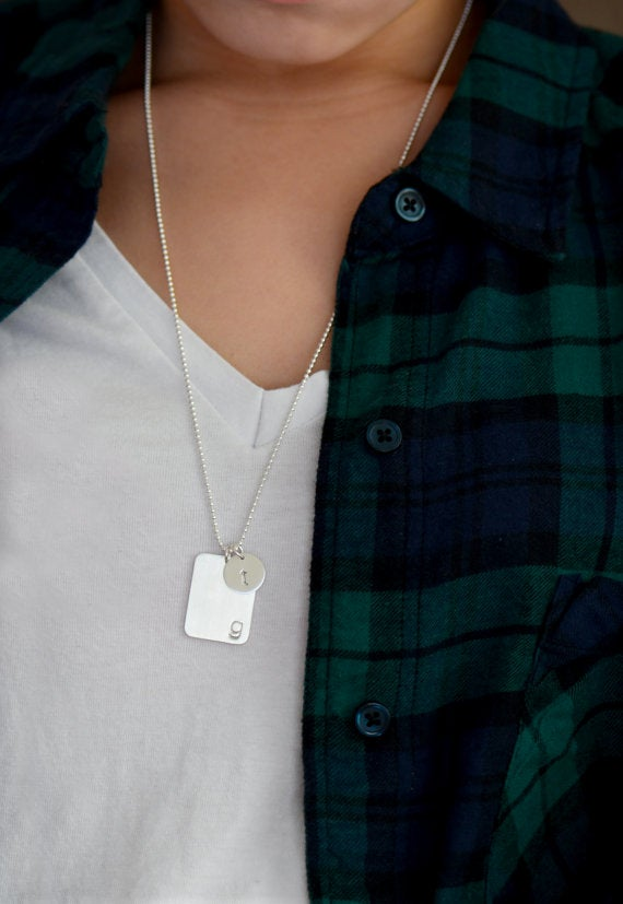 Image of Brushed Dog Tag Necklace, Personalized Bar Tag Necklace
