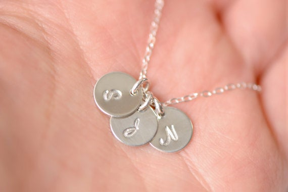 Image of Personalized Necklace - 1,2,3,4,5, or 6 Sterling Silver Initial Necklace, Initial Disc Necklace