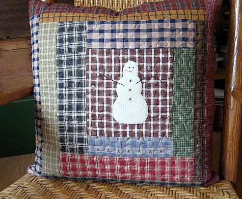 "Image of pillow cover -     18.5"" x 18.5"" - snowmen brown centered in a log cabin design, quilted reversible"