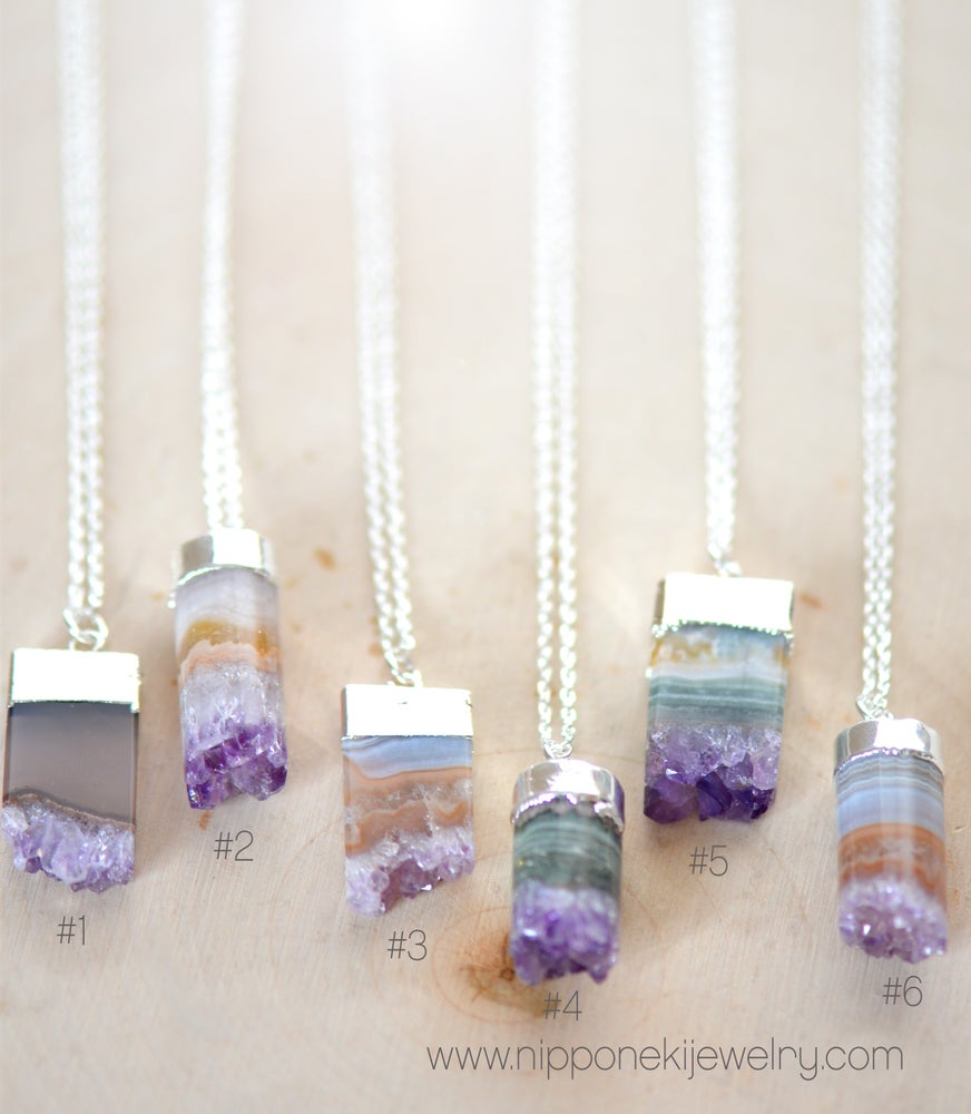 Image of Silver Amethyst Slice or Cylinder Necklace - Raw Amethyst Necklace