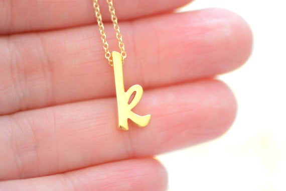 Image of Gold Vermeil Script Initial Necklace - Alphabet Initial Necklace - Initial Charm Necklace