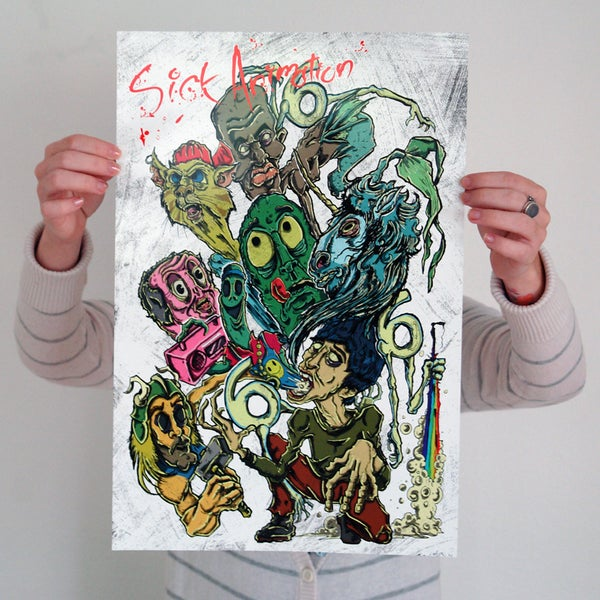 Marc M. with Characters Mini-Poster - Sick Animation Shop