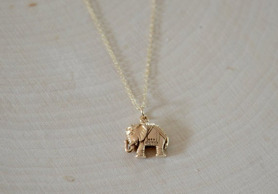 Image of Dainty Bronze Elephant Necklace, Good Luck Necklace, Mother's Necklace, Friendship Necklace